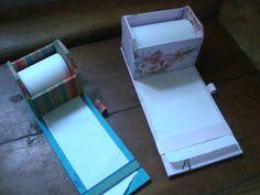 suporte para anotação de recados em cartonagem forrado com papel ou tecido 100% algodão R$ 20,00