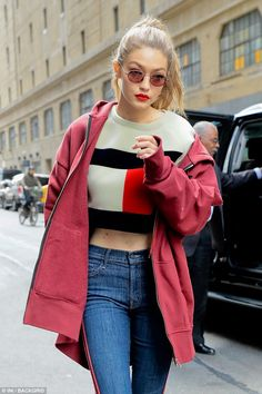 Fashionista: Gigi, who has reportedly just renewed her contract with Tommy Hilfiger, promoted the brand to perfection in the barely-there knit