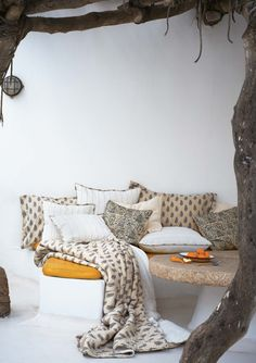 Lovely Little Corners - How utterly serene and welcoming!  ~TAB  Toast UK Pillows and Throws  inspiration-maison.be