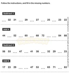 Number Sequence Worksheet 20 - math Worksheets - grade-1 Worksheets