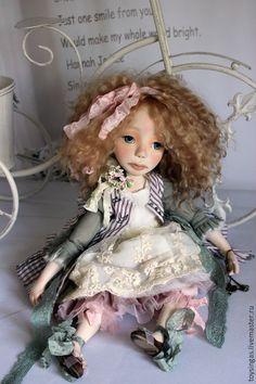 Купить Alex/Саша - бледно-розовый, бежевый, мятный, кукла ручной работы, кукла, кукла в подарок