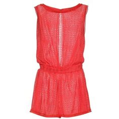 Missoni Mare Crochet-Knit Playsuit (34,670 PHP) ❤ liked on Polyvore featuring jumpsuits, rompers, missoni mare, red rompers, red romper, playsuit romper and knit romper