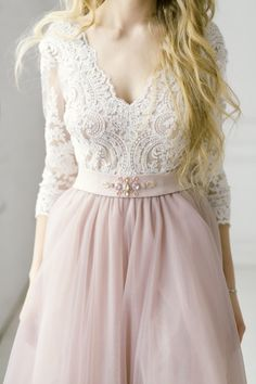 Blush tulle dress blush long dress blush wedding dress.