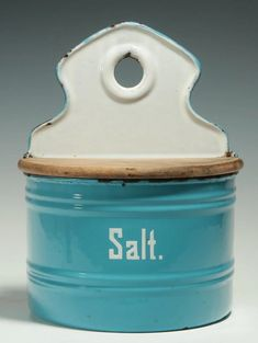 AN EARLY 20TH C. BLUE AND WHITE ENAMEL SALT BOX - Mar 11, 2017 | Soulis Auctions in MO
