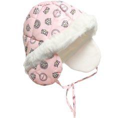 Kenzo - Baby Girls Pink Padded Earflap Hat | Childrensalon