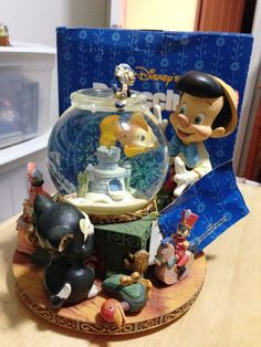 Disney Pinocchio Cleo Fish Bowl Animated Musical Snowglobe Snow Globe + Box