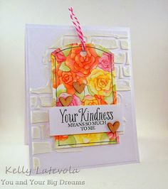 handmade card for Curtain Call challege ... tag with gorgeous water colored roses ...embossing paste stenciled stone wall diagonally crosses the background ... great card!