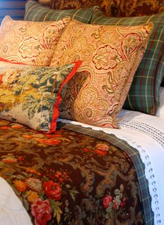 tartan plaid, paisley, toile and floral bedding - Nell Hills