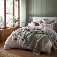 Introduce a botanical style to your bedroom with the Bushland quilt cover. Made from luxe 360 thread count cotton sateen, a cascading design of native Australian flora and peeking birds is designed in soft sage and rust tones. This quilt cover is finished with flat piping and a printed reverse. Coordinate with European pillowcases for a complete look. #duvetcover #quiltcover #doonacover #australiandesign #australianpattern Bedroom Retreat, Bed Linen Design, Quilt Cover, Bed & Bath, Linen Bedding, Duvet Covers, Pillow Cases, Design Inspiration, Quilts