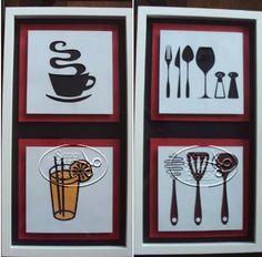 Quadros decorativos para sua copa, cozinha e sala de almoço.Todo feito com papel scrap e em 3D.  Tamanhos diferenciados.