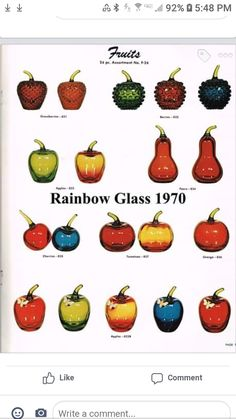 Rainbow Glass, Glass Company, Vintage Glassware, Fruit, Depression