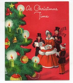 Vintage Forget Me Not Christmas Greeting Victorian Family Caroling Around Tree