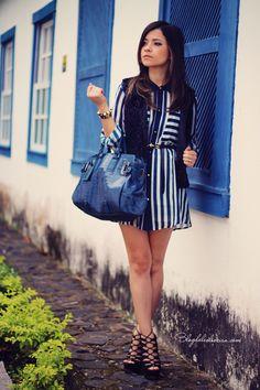 Blog da Lê-Moda Acessível: Listra azul
