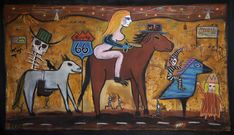 """""""the Naked Assasin on Route 66"""" 6 foot by 9 foot painting by new mexico flea market artist Kelly Moore"""