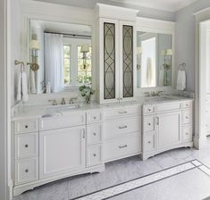 Morgante Wilson Architects designed this master bathroom by incorporating design elements &details that are reflected throughout the house. From the geometric metal detailing of the upper cabinet doors down to the inlay pattern in the floor. A combination Counter Top Sink Bathroom, Bathroom Wall Cabinets, Bathroom Floor Tiles, Bathroom Furniture, Sink Countertop, Bathroom Vanities, Vanity Backsplash, White Bathroom, Modern Bathroom