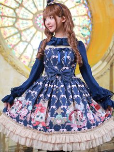 多色のロリータ ドレス弓プリント コットン ドレス - Milanoo.jp
