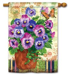 pretty pansies spring house flag 28 x 40 breezeart - Decorative House Flags
