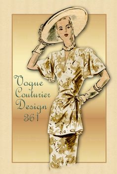 1940s Dress Pattern Vogue Couturier Design 361 Two Piece Dress with Tunic Top Rare Pattern
