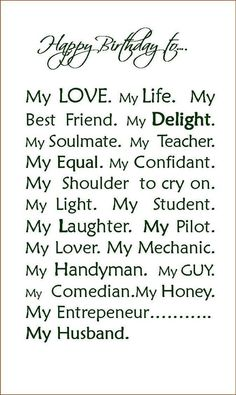 Best ideas about Happy Birthday Husband Quotes . Save or Pin Happy Birthday To My Husband Quotes QuotesGram Now. Happy Birthday Husband Cards, Happy Valentines Day Card, Happy Husband, Happy Birthday Quotes, Love My Husband, Husband Birthday, Happy Birthday Me, Happy Quotes, Birthday Wishes