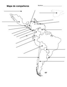 A printable map of South America labeled with the names of