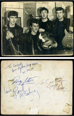 A signed early photograph of The Beatles showing Pete Best but signed by John, Paul, George and Ringo. #beatles #autographs