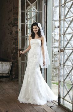 Sincerity Wedding Dress Style 3704 Strapless Regal Satin Bias Bands Accent The Neckline Of This Beaded Lace Tulle Mermaid Featuring A Hem