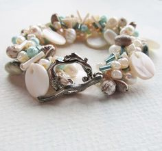 Day at the Beach Crochet Bracelet Mermaid Pearls and by 3pearls