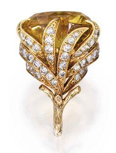 Lot 250 - 18 KARAT GOLD, CITRINE AND DIAMOND RING, STERLÉ, PARIS