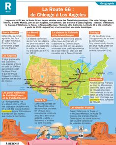 La Route 66 : de Chicago à Los Angeles Route 66 Road Trip, Road Trip Usa, Road 66, French Lessons, English Lessons, Learn French, Learn English, Chicago, Esl Resources