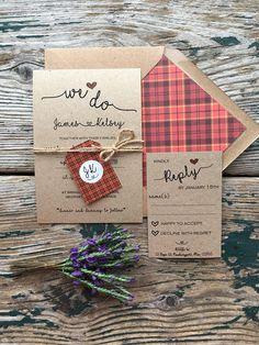 Red tartan wedding invitations Spring wedding Scottish