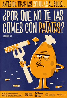 The design of these three posters stems from an awareness campaign for cleanliness in the city of Alicante. Due to an increasing problem that has result in a city crowed of cigarette butts chewing gum and uncollected pet poop.