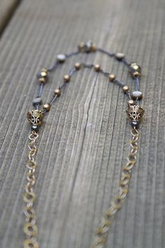 Gray metallic and shell beaded double strand chain by SCBeads
