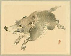 Kono Bairei: Wild Boar - Japanese Art Open Database