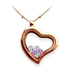 Rose Gold glass heart locket necklace with family birthstones inside. I'd prefer silver, but this is adorable!