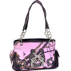 Mossy Oak Camo Horseshoe/Twin Gun Print Handbag - Pink (58793-MPBK)