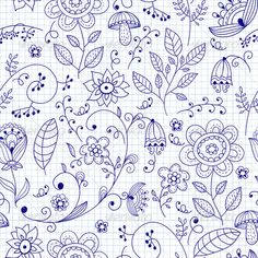 Buy Vector Seamless Floral Summer Doodle Pattern by alexmakarova on GraphicRiver. Vector seamless summer doodle style floral pattern, fully editable eps 10 file, seamless pattern in swatch menu Flower Pattern Drawing, Flower Patterns, Drawing Flowers, Doodle Patterns, Doodle Designs, Banner Doodle, Floral Doodle, Floral Pattern Vector, Doodles