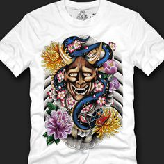 Graphic Men's T- shirts Cheap Chic Design 100% Cotton, oni mask tatoo copy #imagealchemy #GraphicTee