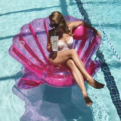 "Inflatable Pink Seashell Pool Float follow babydollnessi ""dance with the waves"""