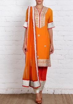 orange georgette churidar suit with gota work