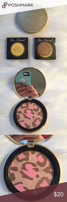 Too Faced Pink Leopard Bronzer and Deluxe Samples Includes Too Faced Pink Leopard Bronzer (full sized) and Sun Bunny Bronzer (deluxe), both gently used. Also includes an unopened deluxe sample of Milk Chocolate Soleil.  Makeup will be sanitized before being shipped out. It looks like the big Bronzer is cracked, but it's not! Too Faced Makeup Bronzer