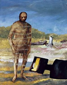 Sydney Nolan… In Kelly And His Armour (right), Nolan paints the outlaw as a real person. He stands, eyes downcast, naked beside his defiant, cartoon cut-out armour; the macho myth exposed and vulnerable. Australian Painting, Australian Artists, Sidney Nolan, Victoria Art, Eye Painting, Painter Artist, Art Object, Various Artists, Figurative Art