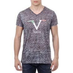 V 1969 Italia Mens T-shirt Short Sleeves V-Neck Black JACOB
