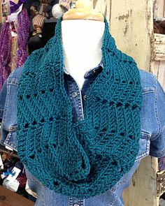 This is a one page pattern for a circular cowl featuring horizontal chevrons worked in the round. Stitches in the back loop only highlight the chevron zig zag pattern and chain spaces accentuate a slightly lacy look. The cowl can be easily adjusted for circumference by adding or subtracting in 15-stitch increments. The height is changed by simply adding or subtracting rows.