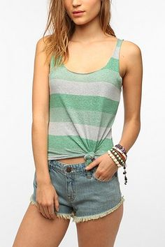 BDG Striped Shirttail Tank Top