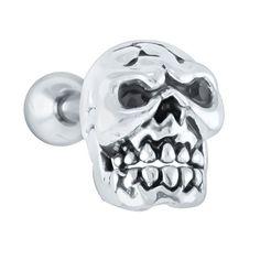 Skull 925 Sterling Silver Cartilage Earring Stud at FreshTrends.com