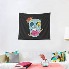 Promote | Redbubble Sugar Skull Design, Tapestry, Home Decor, Hanging Tapestry, Tapestries, Decoration Home, Room Decor, Wall Rugs, Interior Decorating