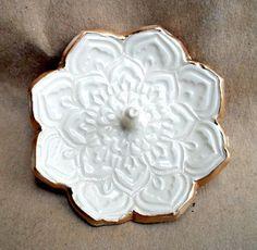 Gold Edged White Lotus Ring Holder Bowl