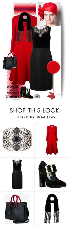 """Classy"" by gagenna ❤ liked on Polyvore featuring Stephen Webster, Lanvin, Yves Saint Laurent, Adrienne Landau, saintlaurent, redcoat, TheRealReal and lastcall"