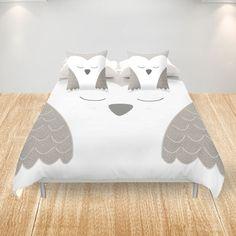 Owl Duvet Cover - King Queen Double Full Cover - White Gray Bird - Owls Bedding Duvet - Bed  Dorm - Gray  Owls  Animals - Home Decor Nursery