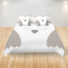 Owl Duvet Cover King Queen Double Full Cover White by Narais